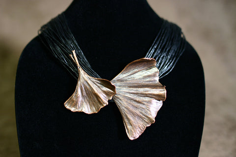 Bronze Double Ginkgo on Wax Linen Necklace