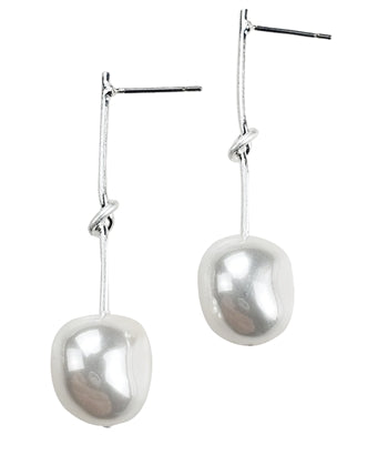 Silver & Faux Pearl Drop Earrings