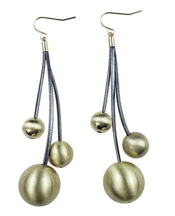 Gold Alloy Balls on Grey Leather Earrings