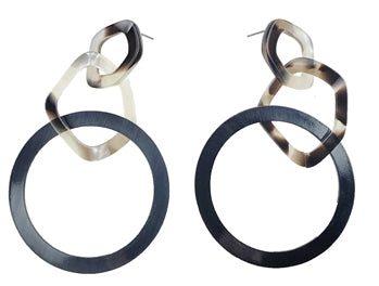 Gun Metal & Tortoise Resin Hoop Earrings