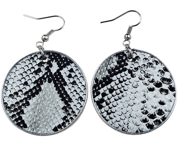 Round Snake Skin Leather Earrings