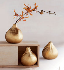 Gold Fig Vases - Set of Three