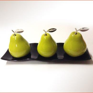 Ceramic Pears with White Ceramic Tray