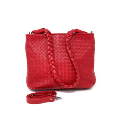 Sera Red Woven Braided Handle Purse