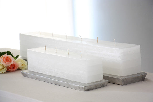 Layered Brick Candle White