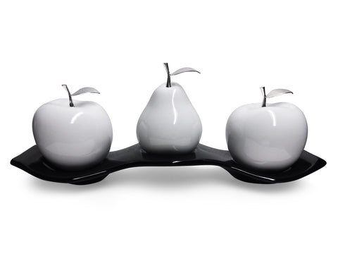 Ceramic Two Apples & One Pear with ceramic tray