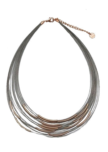 Silver Wire Necklace with Rose Gold