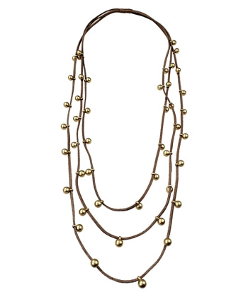 Tan Faux Suede Necklace w/ Gold Resin Beads