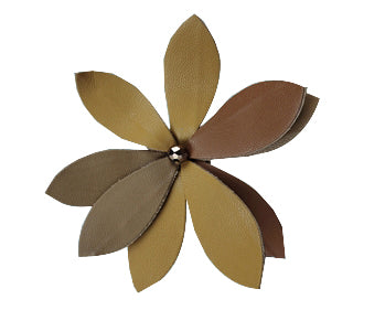 Tan & Brown Leather Flower Pin