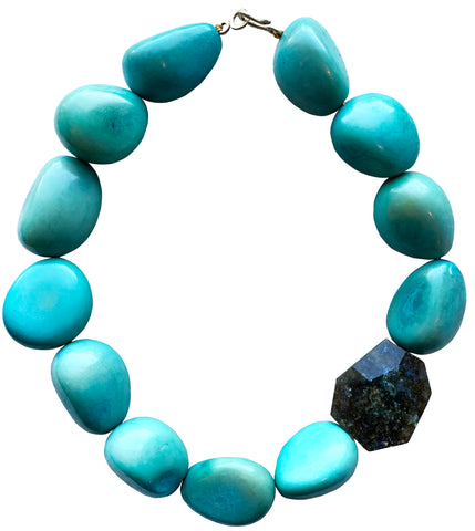 Blue Tagua with Labradorite Accent Bead Necklace