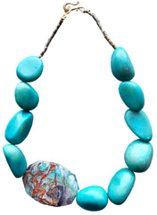 Blue Tagua with Imperial Jasper Accent Bead Necklace