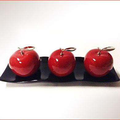 Ceramic Apples with Ceramic Tray