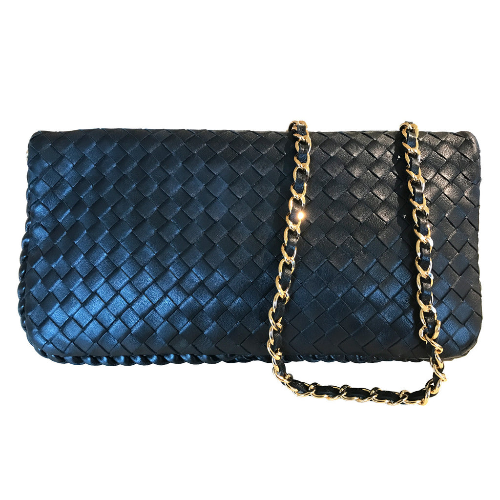Sera Evening Black Woven Purse