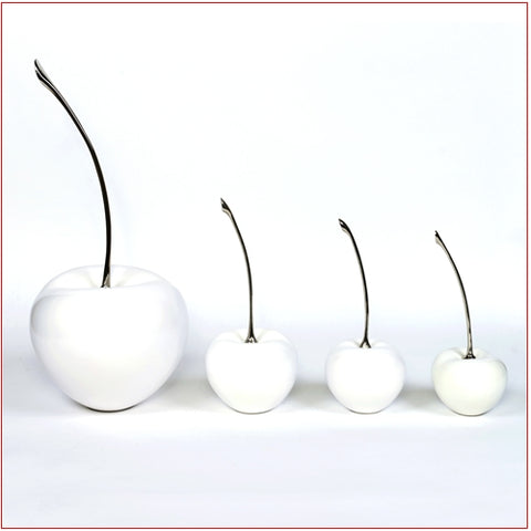 Ceramic Cherry with Silver Stem