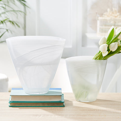 White Striation Flare Vase
