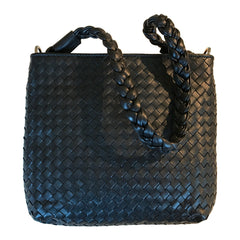 Sera Black Woven Braided Handle Purse