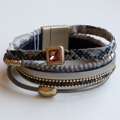 Leather Bracelet tan, gold & animal print leather