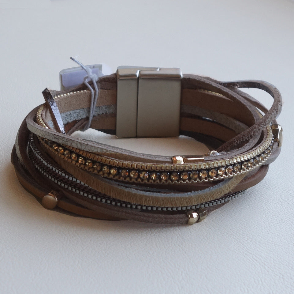 Leather Bracelet with beads & gemstones