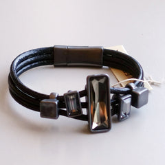 Leather Bracelet with crystal