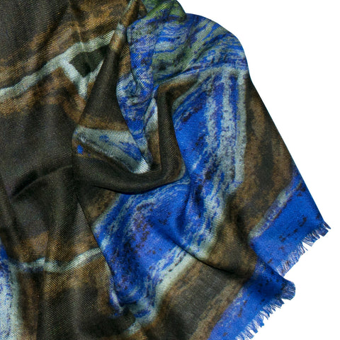 Abstract Elephant Blue Scarf