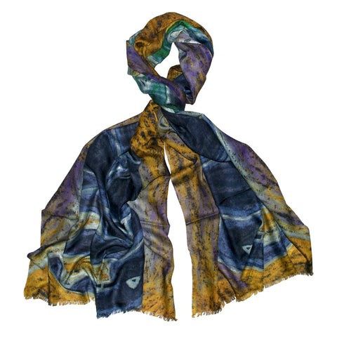Abstract Elephant Mustard Scarf