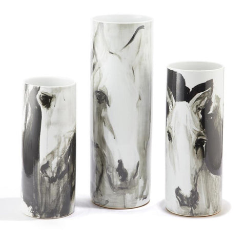 White Horses Tall Porcelain Vases