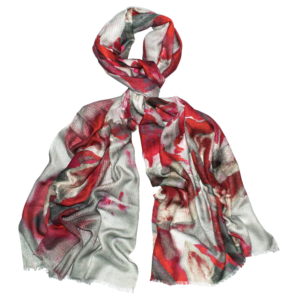 Jin Red Watercolor Scarf
