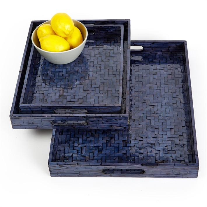 Midnight Blue Basketweave Trays
