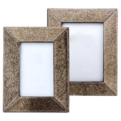 Natural Cowhide Photo Frames Gray