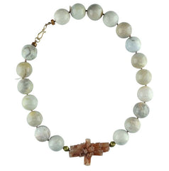 Agate with Aragonite Focal Piece Necklace