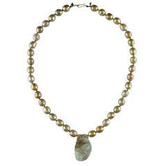 Brown Freshwater Pearls with Solar Quartz Drop Necklace
