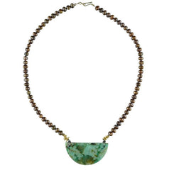 Chrysocolla Focal Piece with Brown Pearls Necklace