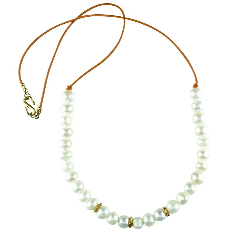 Freshwater Pearls with Vermeil Spacers and Leather Cord Necklace