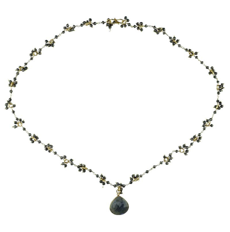 Gold Dipped Chain (Pyrite) with Labradorite Drop Necklace