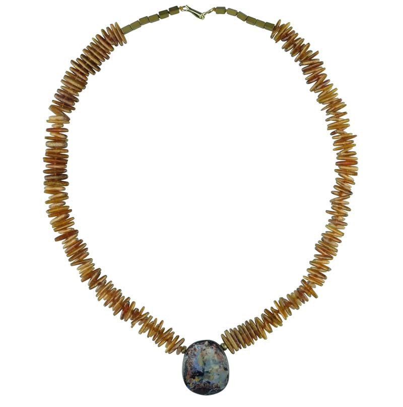 Golden Bamboo Coral with Boulder Opal Drop Necklace
