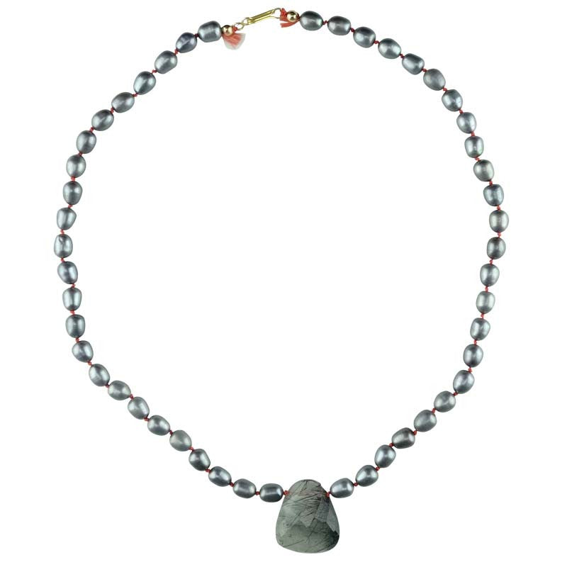 Grey Freshwater Pearls with Rutile Quartz Necklace