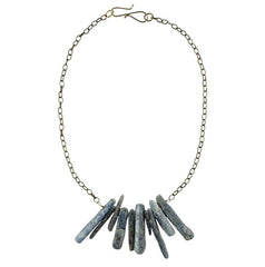 Kyanite Chards on Oxidized Chain Necklace