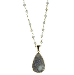 Labradorite Chain with Quartz Drop Necklace