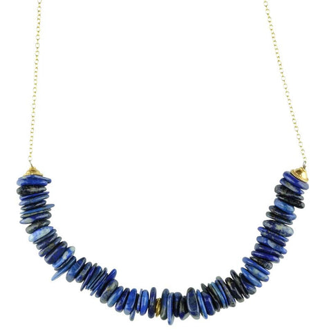Lapis Discs on Chain Necklace