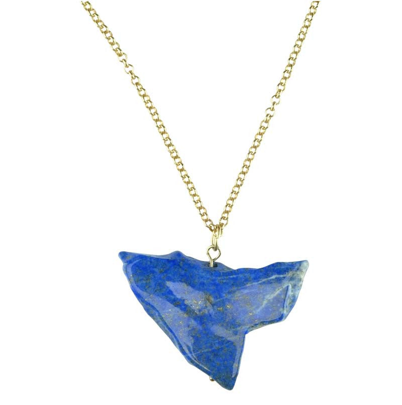 Lapis Drop on Metal Chain Necklace