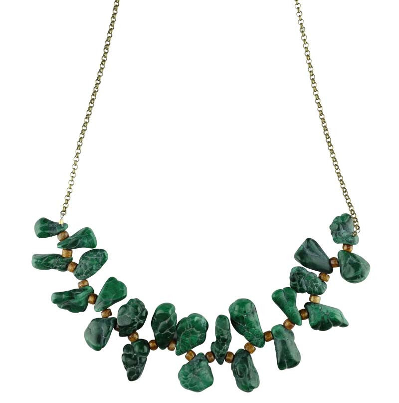 Malachite Nuggets with Coral Spacers on Oxidized Chain Necklace