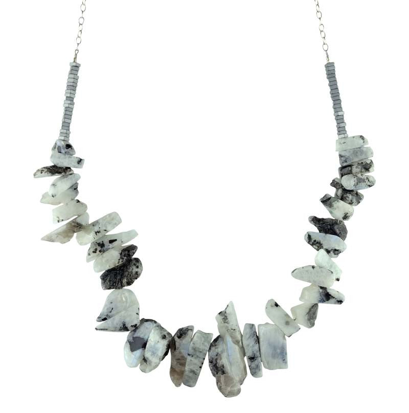 Moonstone Metallic Stone Hematite Necklace