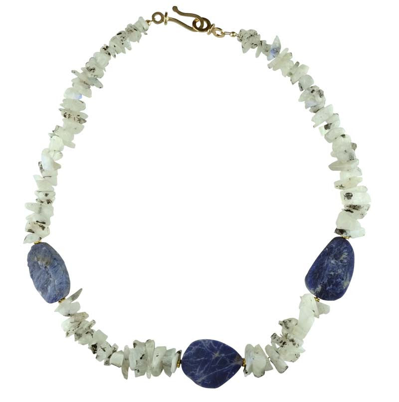 Moonstone Nuggets with Lapis Necklace