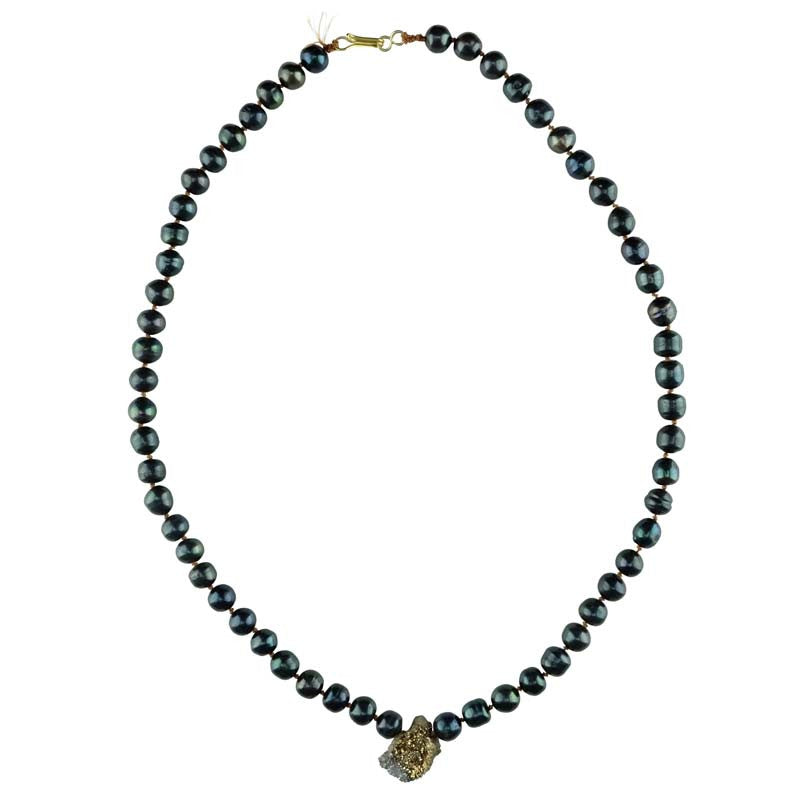 Navy Pearls with Pyrite Drop Necklace