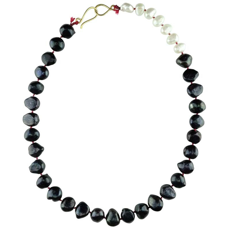 Navy and White Pearls on Fushia Thread Necklace