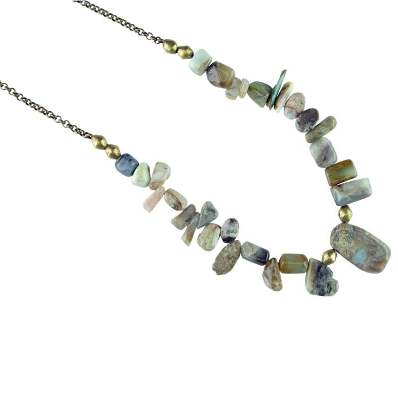 Peruvian Opal On Oxidized Chain Necklace