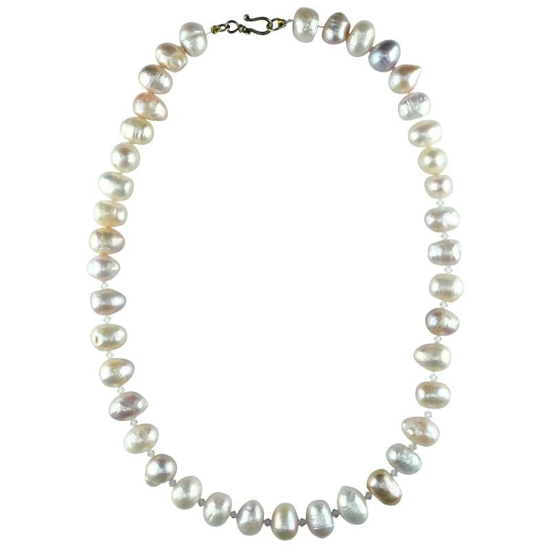 White & Pink Pearls with Swarovski Spacers Necklace