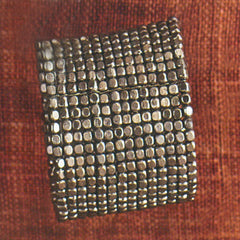 Square Beaded Cuff - Dark Nickel
