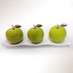 Ceramic Apples with White Ceramic Tray