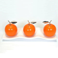 Ceramic Oranges with White Ceramic Tray